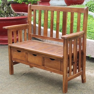 International Caravan 3-drawer Acacia Bench with Arms