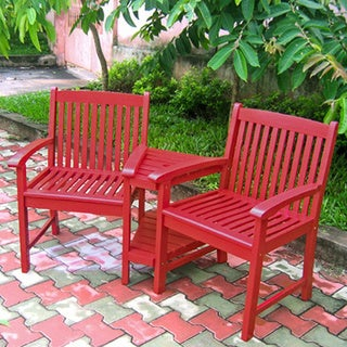 International Caravan Corner Double Chair with Antiqued UV Paint Finish
