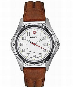 Wenger Men's Standard Issue XL Watch with Brown Leather Strap