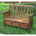 International Caravan 3-drawer Large Acacia Bench with Arms