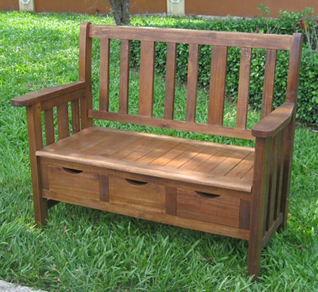 International Caravan 3-drawer Large Acacia Bench with Arms