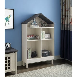 ACME Doll Cottage Bookcase, Weathered White and Washed Gray