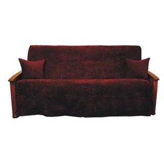 Red Jacquard Chenille Skirted Futon Slipcover Set