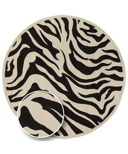 Hand-tufted Black/White Zebra Animal Print New Zealand Wool Rug (5'9 Round)