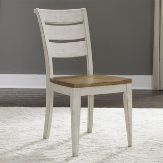 Farmhouse Reimagined Antique White Ladder Back Side Chair (Set of 2)