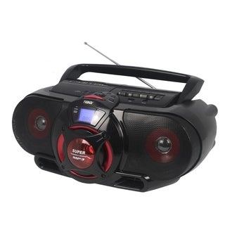 Portable Bluetooth® MP3/CD AM/FM Stereo Radio Cassette Player/Recorder with Subwoofer and USB Input