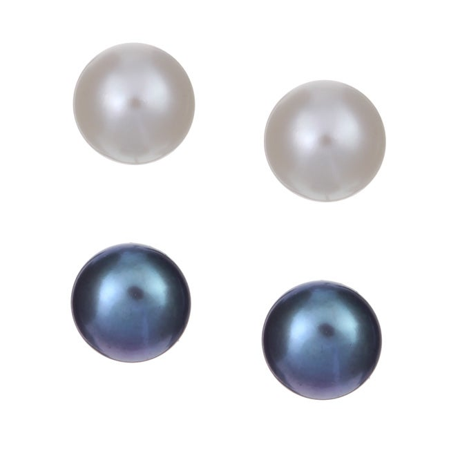 Cultured Freshwater Pearl Stud Earrings Set