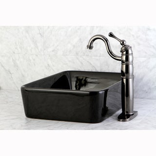 French Petite Black Vessel Lavatory Sink