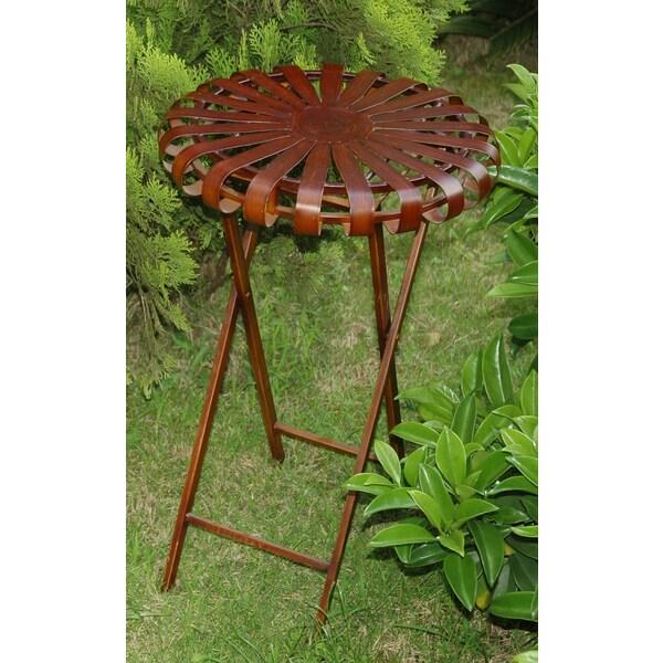 International Caravan Iron Round Folding Indoor/ Outdoor Plant Table