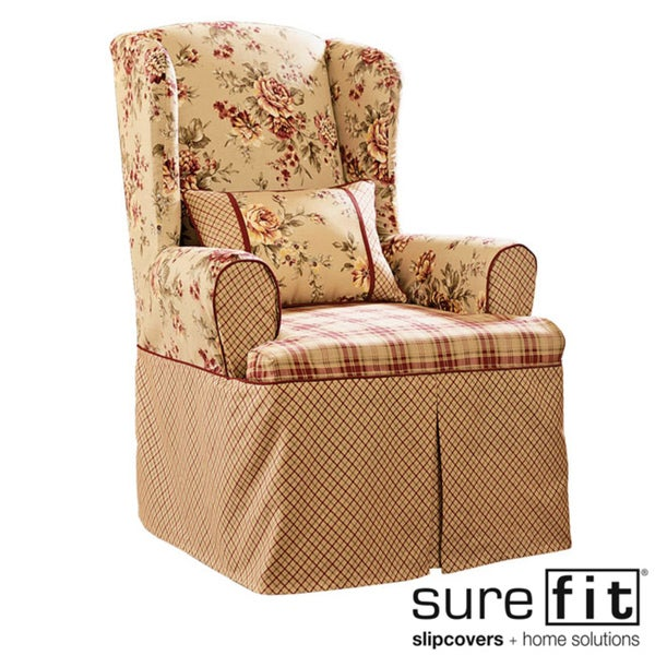 Lexington Taupe Washable Wing Chair Slipcover