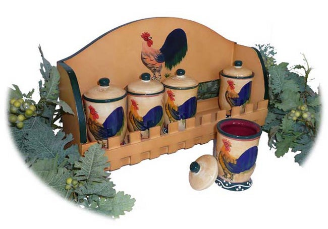 Classic Rooster Hand Painted 5 Piece Spice Rack