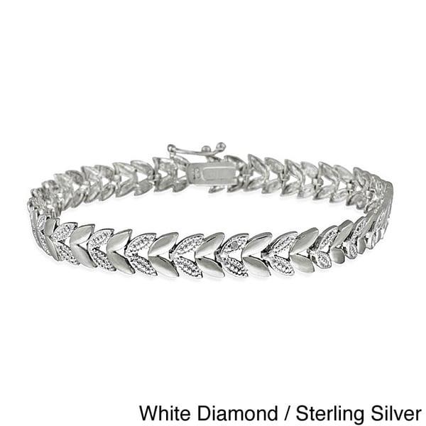 DB Designs Sterling Silver Diamond Accent Leaf Bracelet