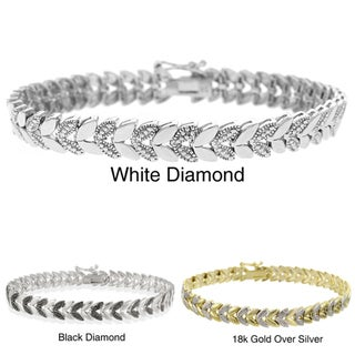 DB Designs Sterling Silver Diamond Accent Leaf Bracelet
