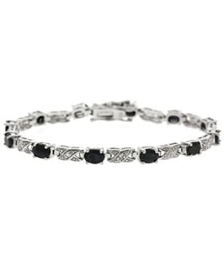Glitzy Rocks Sterling Silver Diamond Sapphire X and O Bracelet