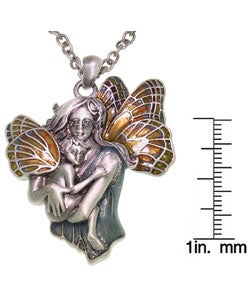 CGC Pewter and Enamel Pendant Necklace of Fairy Mom and Baby