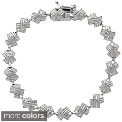 DB Designs Sterling Silver X Design Diamond Accent Tennis Bracelet