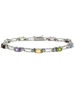 Glitzy Rocks Sterling Silver Multi Gemstone Bracelet