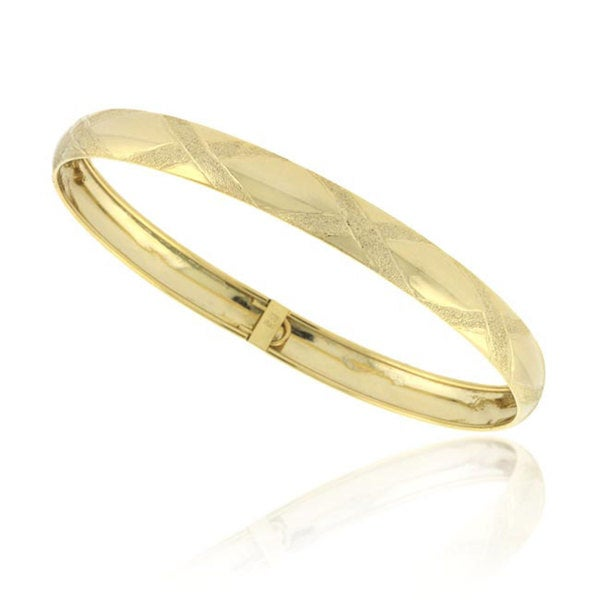 Mondevio 18k Gold Over Sterling Silver Diamond Cut Bracelet