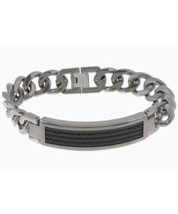 Men's Titanium and Braided Cable Bracelet