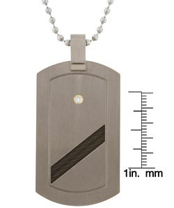 Men's Titanium Diamond and Braided Cable Dog Tag