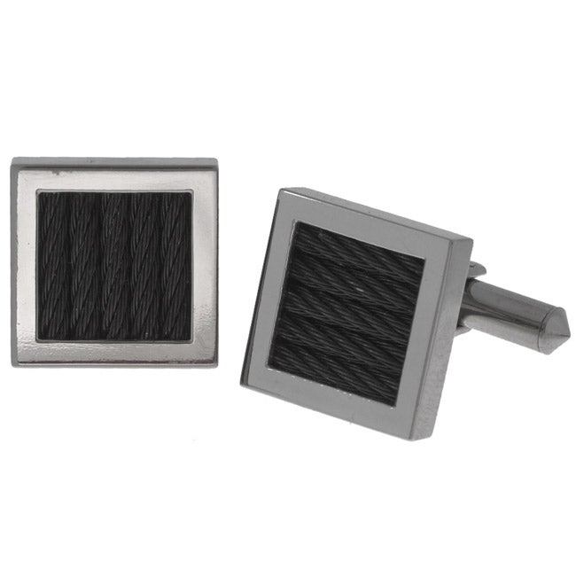 Men's Titanium and Braided Cable Cuff Links