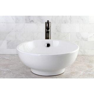 White Round Bathroom Vessel Sink
