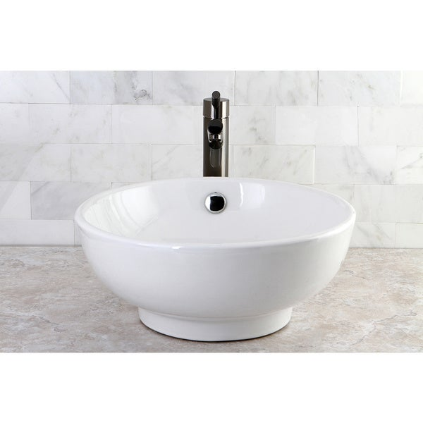 White Round Bathroom Vessel Sink - 10800912 - Overstock.com Shopping ...