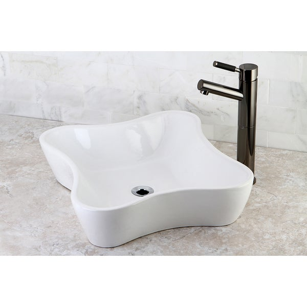 Blue And White Vessel Sink : ... European Style Slope Wall Shape Porcelain Ceramic Bathroom Vessel Sink