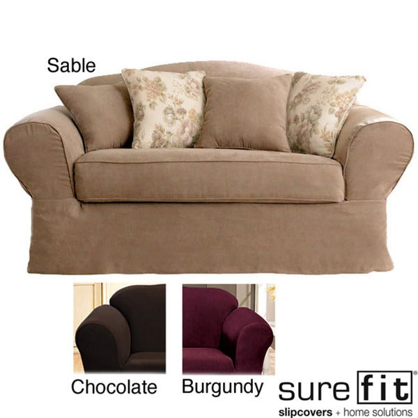 Sure Fit Suede Supreme Washable Loveseat Slipcover
