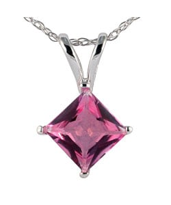 14k White Gold and Sterling Silver Pink Topaz Necklace
