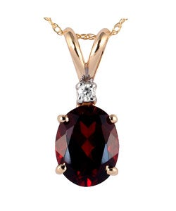 14k Yellow Gold Garnet and Diamond Necklace