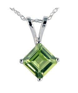 14k White Gold Peridot Necklace