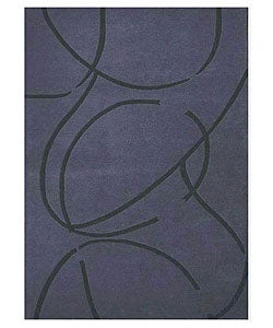 Hand-tufted Archie Blue Wool Rug (5' x 8')