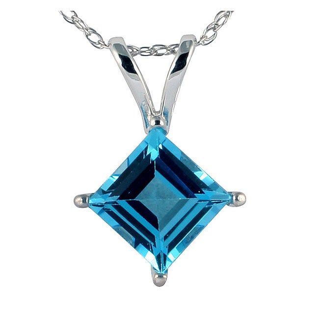 Marquee Jewels 14k White Gold Blue Topaz Necklace