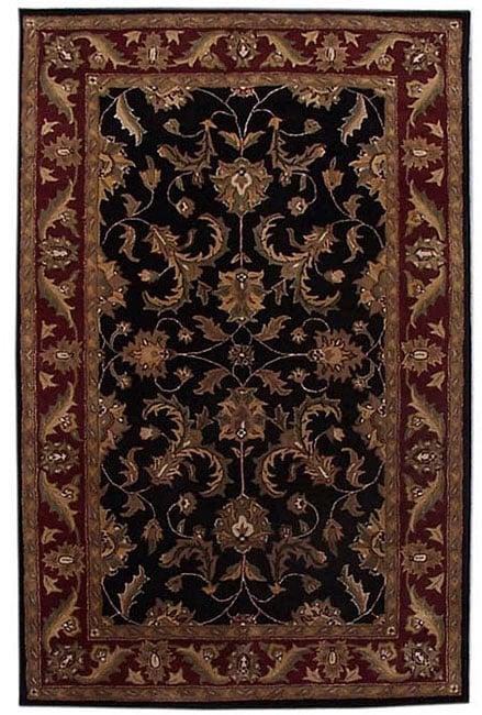 Hand-tufted Corola Black Wool Rug (8' x 10'6)