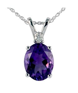 14k White Gold Amethyst Diamond Necklace