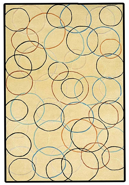 Hand-tufted Gold Circle Wool Rug (8' x 10'6)