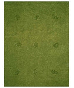 Hand-tufted Green Leaves Wool Rug (8' x 10'6)