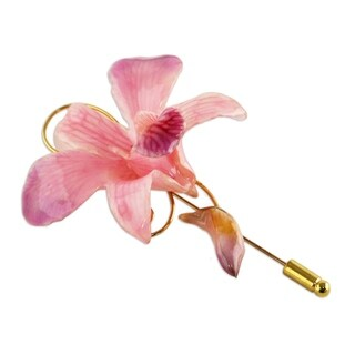 Eternal Orchid Natural Orchid Gold-plated Stickpin (Thailand)