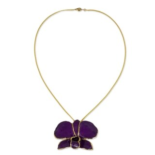Violet Dawn Orchid Gold-Plated Brooch Necklace (Thailand)