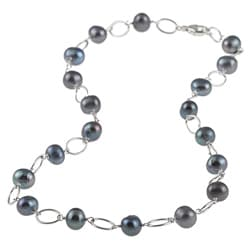 DaVonna Silver Black FW Pearl and Link 16-inch Necklace (7-7.5 mm)