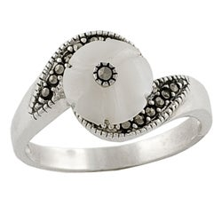 Fremada Sterling Silver, Mother of Pearl, & Marcasite Ring