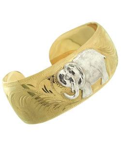 14k Goldfill Elephant Engraved Cuff Bracelet (Mexico)