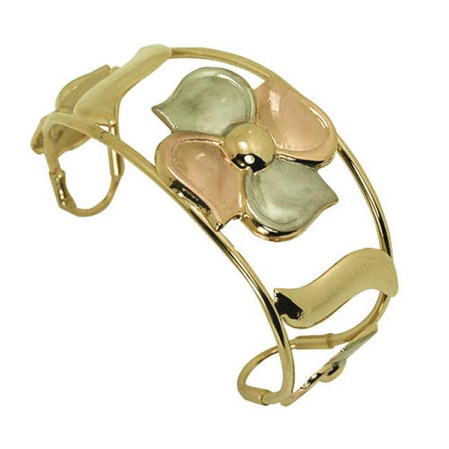 14k Goldfill Wide Flower Cuff Bangle Bracelet (Mexico)