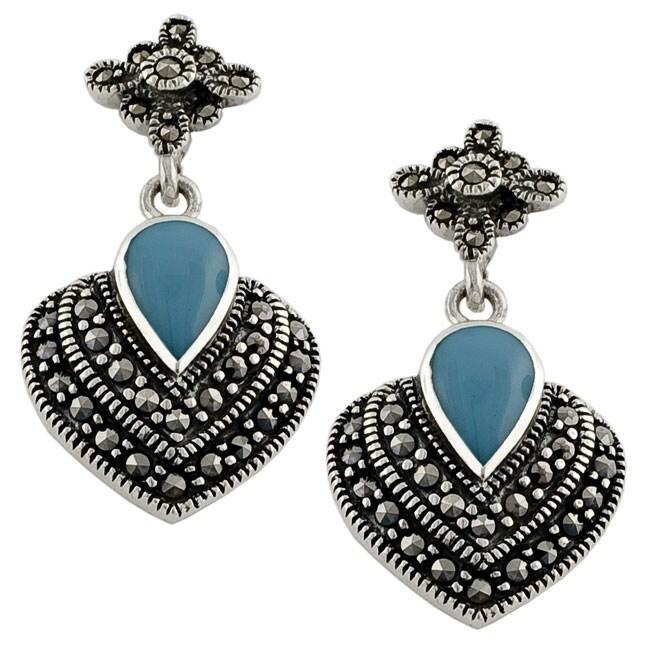 Fremada Sterling Silver Turquoise Marcasite Heart Earrings