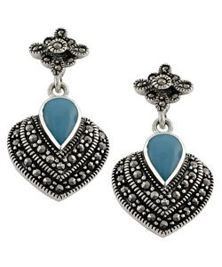 Fremada Sterling Silver Turquoise Marcasite Heart Earrings