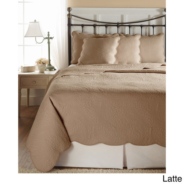 Cooper Cotton Solid Paisley 3-piece Scallop-edged Quilt Set