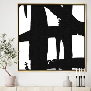 Designart 'Black & White Crossing Paths II' Modern & Contemporary Framed Canvas - Black