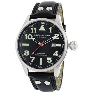 Stuhrling Original 'Eagle' Men's Black/Green Pilot Swiss Quartz Watch