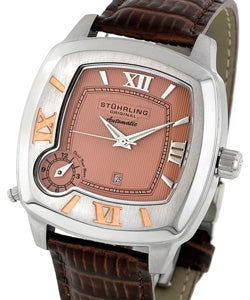 Stuhrling Original 'Galassia' Dual Time Zone Salmon Watch